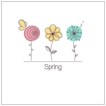d       cor: Cute and funny stylized flowers for spring design Illustration