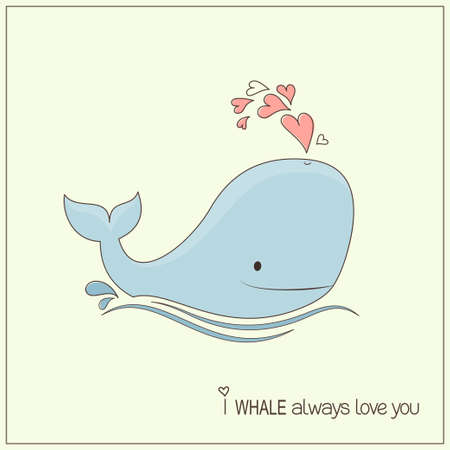Cute whale in love with hearts fountain blow Vector