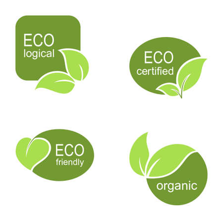 approvement: Set of frames and labels with green leaves for ecological, organic or natural theme design
