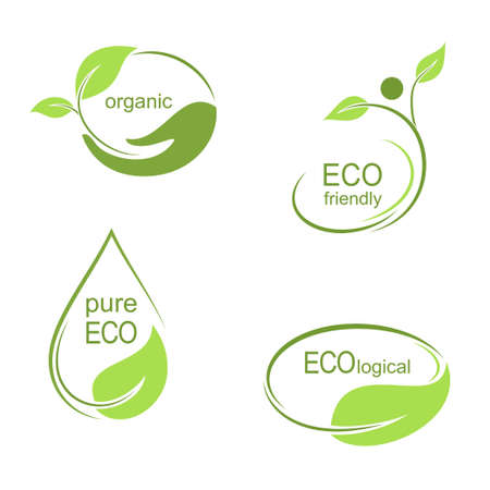 Set of emblems, labels and frames with green leaves for ecological, organic or natural theme design Vector