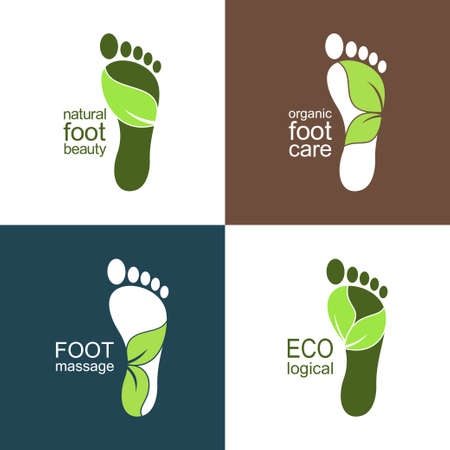 reflexology: Set of footprint icons and emblems with leaves for ecological, health and beauty care design