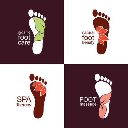 massage symbol: Set of footprint icons and emblems with flowers and leaves for organic health and beauty care design