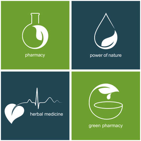 ayurveda: Set of icons and emblems with leaves for green pharmacy and herbal medicine Illustration