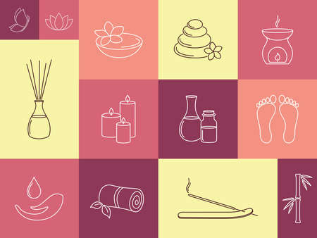 ayurveda: Set of linear icons for SPA, ayurveda, beauty treatment and health care Illustration
