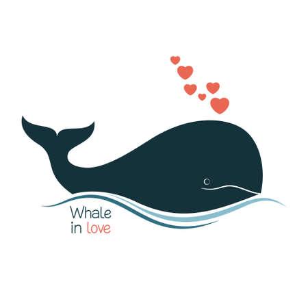 Walvissen in liefde met harten fontein klap