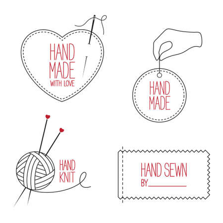 Set of icons, emblems and labels for handmade, tailor, hand sewing and knitting theme design