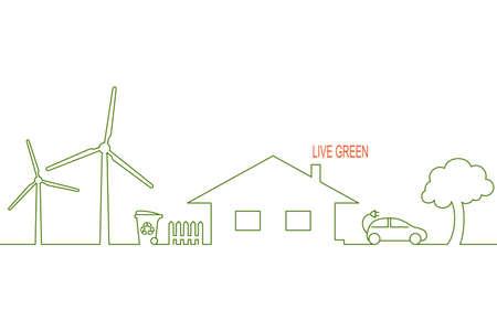 Levend groen en eco-vriendelijk huis concept met alternatieve windenergie, recycling van afval en elektrische auto