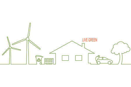 clean  electric: Living green and eco friendly house concept with alternative wind energy, waste recycling and electric car