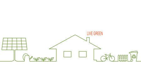 Living green and eco friendly house concept with alternative solar energy, organic gardening, waste recycling and bicycle Vectores