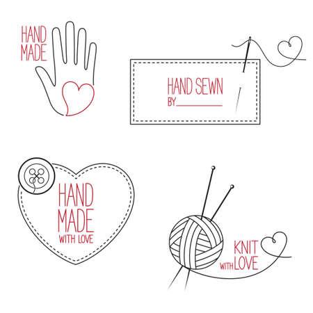 アイコン、エンブレム、手作り、オーダーメイド、手縫いと編物テーマ デザインのラベルのセット  イラスト・ベクター素材