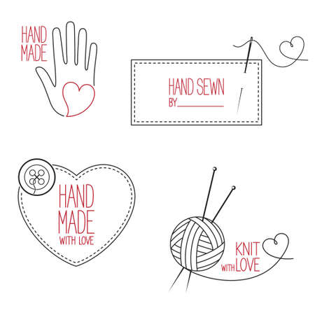 made: Set of icons, emblems and labels for handmade, tailor, hand sewing and knitting theme design