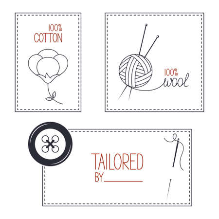 cotton wool: Set of icons, emblems and labels for cotton, wool and tailor products Illustration