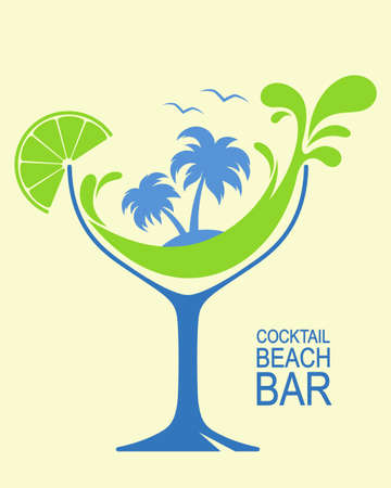 drink at the beach: Cocktail glass with stylized wave splashes and palms. Beach bar or summer cocktail party design