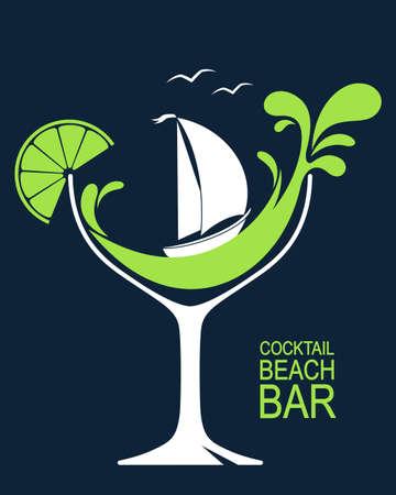 様式化された波飛沫と帆船のカクテル グラス。ビーチバーや夏のカクテル パーティー デザイン