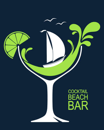 boat: Cocktail glass with stylized wave splashes and sailing boat. Beach bar or summer cocktail party design