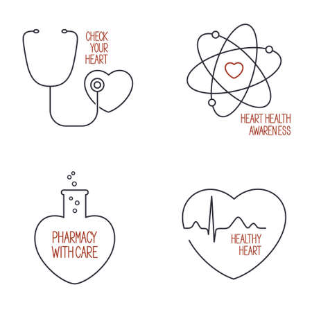 prophylaxis: Set of linear medical icons and emblems for heart health care and pharmacy