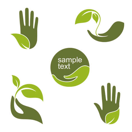 Set of emblems and labels with human hands and green leaves for ecology gardening natural beauty and health design Çizim