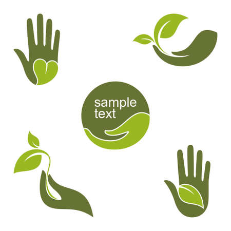 safe: Set of emblems and labels with human hands and green leaves for ecology gardening natural beauty and health design Illustration