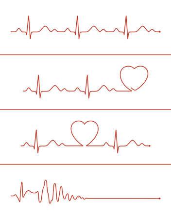 様々 な心電図デザインした要素のセットです。健康な心臓と心停止の心電図ライン  イラスト・ベクター素材