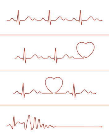 Set of various cardiogram design elements. Cardiogram lines of healthy heart and heart stop Illustration