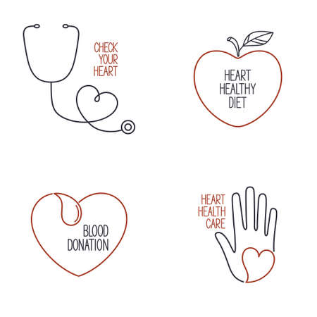 prophylaxis: Set of linear medical icons and emblems for heart health cardiology and blood donation