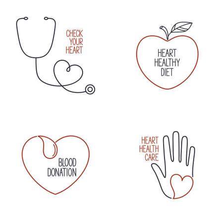 prophylaxe: Set von linearen medizinische Symbole und Embleme f�r die Gesundheit des Herzens Kardiologie und Blutspende