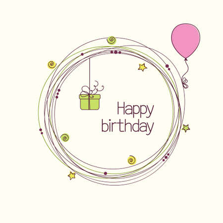 Festive round frame with gift box and balloon for birthday or other holiday greeting card Illustration