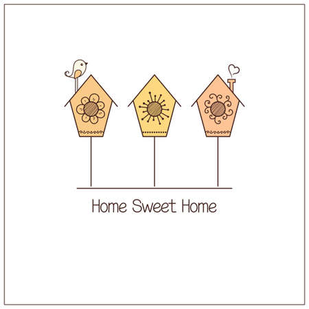 housewarming: Cute nesting boxes and bird. Home Sweet Home concept
