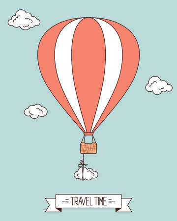 adventure aeronautical: Hot air balloon with clouds and banner for your text Illustration