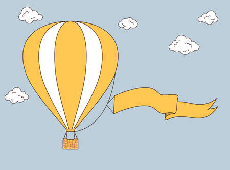 adventure aeronautical: Hot air balloon with banner for your text