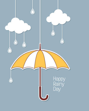 monsoon clouds: Umbrella, clouds and rain drops hanging in paper cutout style