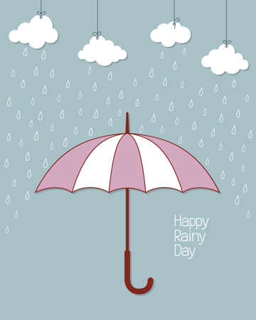 weatherproof: Rainy background with umbrella and hanging clouds