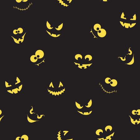Naadloos patroon met griezelige en gekke pompoenen, spoken en monsters gezichten in het donker voor het ontwerp van Halloween