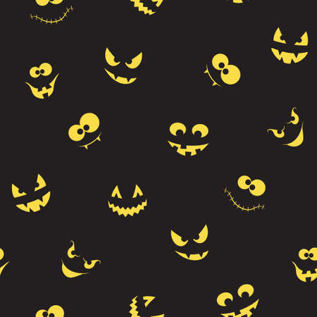Seamless pattern with spooky and crazy pumpkins, ghosts and monsters faces in the dark for Halloween design Illustration