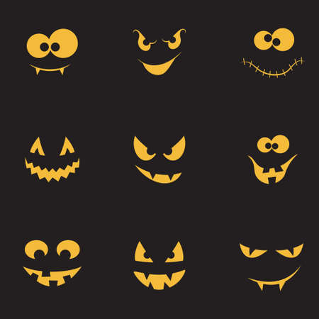 physiognomy: Set of spooky and crazy pumpkins, ghosts and monsters faces in the dark for Halloween design