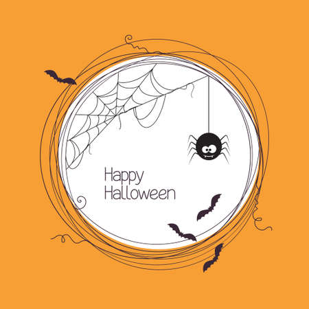 spider cartoon: Round frame with spider, web and bats for your Halloween text