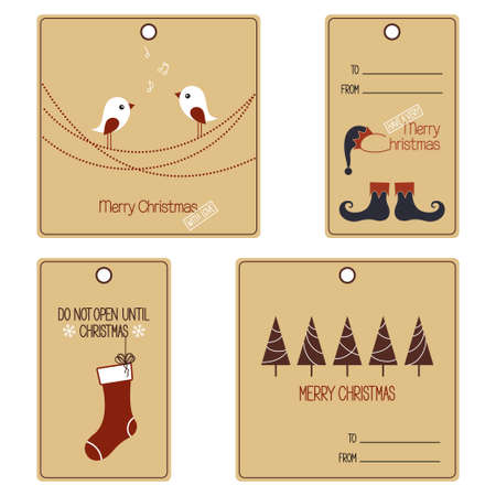 christmas gift: Set of gift tags for Christmas and New Year design Illustration