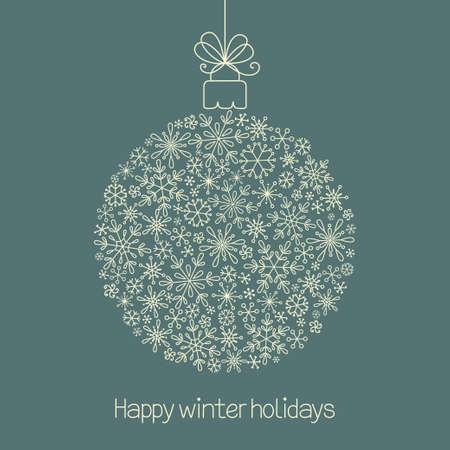 Kerst bal gemaakt van sneeuwvlokken in doodle stijl