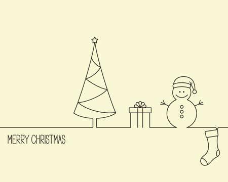 botas de navidad: Dise�o de estilo lineal para las vacaciones de invierno con �rboles de Navidad, caja de regalo, mu�eco de nieve y almacenamiento