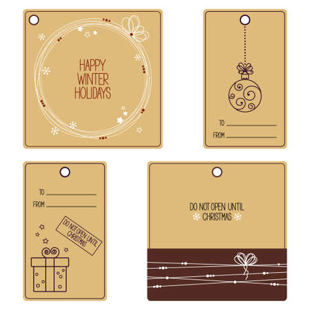 christmas scroll: Set of gift tags for Christmas and New Year design Illustration