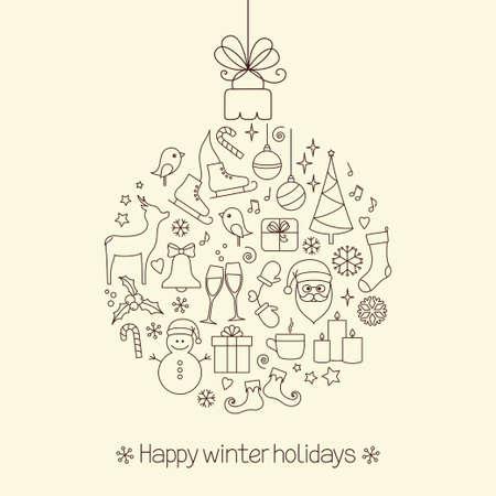 fir tree balls: Christmas ball made of winter holidays symbols and elements
