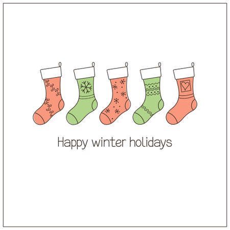 winter holidays: Winter holidays greeting card with Christmas stockings in doodle style