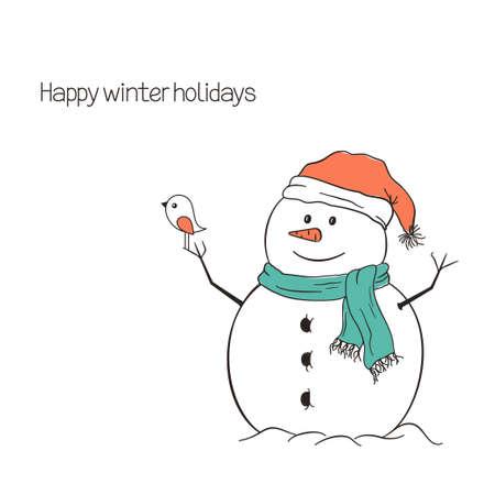 oiseau dessin: Bonhomme de neige mignon avec des oiseaux pour Noël et la conception d'hiver