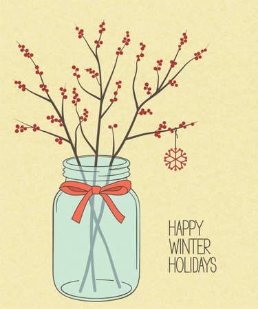 Red winterberry twigs in Mason jar over rough brown paper texture for Christmas and New Year design Illustration