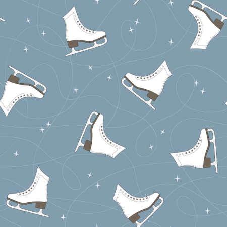 patinaje sobre hielo: Modelo inconsútil con los patines de hielo, senderos de cuchilla y destellos Vectores