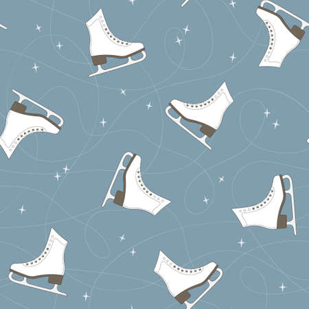 figure skating: Seamless pattern with ice skates, blade trails and sparkles