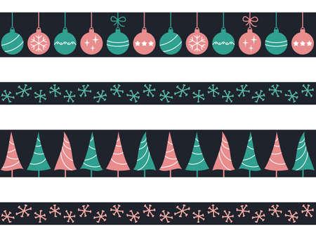 Set van naadloze grenzen met kerstballen, bomen en sneeuwvlokken voor de winter vakantie ontwerp