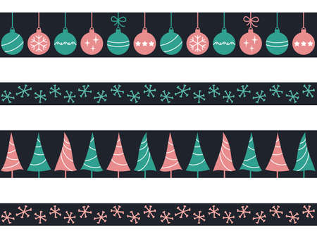 Set of seamless borders with Christmas baubles, trees and snowflakes for winter holidays design Illustration