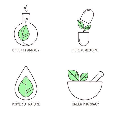 線形医療アイコンと漢方薬と緑の薬局のエンブレムのセット