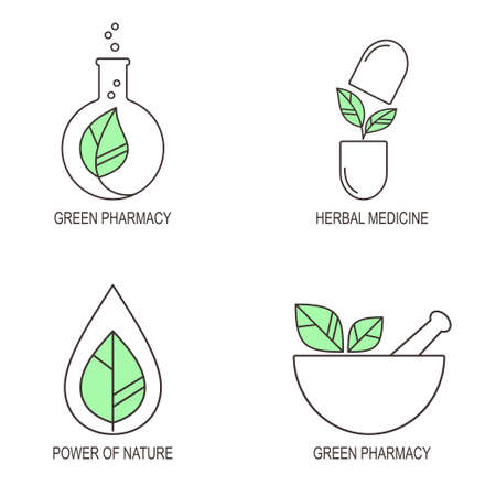 therapy: Set of linear medical icons and emblems for herbal medicine and green pharmacy